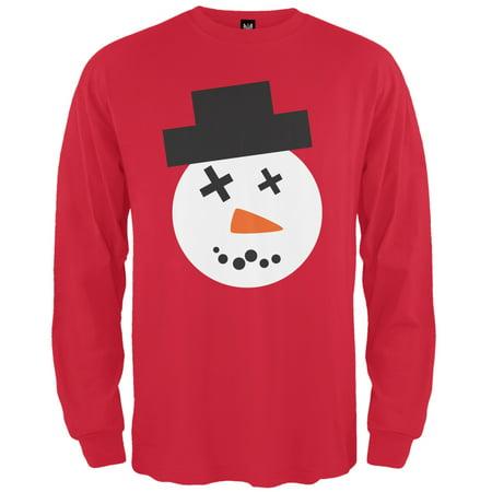 Snowman Face Red Adult Long Sleeve T-Shirt - Snowman Faces