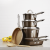Ayesha Home Collection Porcelain Enamel Nonstick Chef Pan With Pour Spouts, 9.75-Inch, Brown Sugar