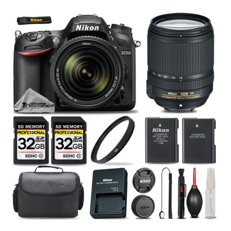 Nikon D7200 DSLR Camera Black Built-In Wi-Fi Connectivity with NFC + Nikon 18-140mm VR Lens + 64GB Storage + UV Filter + Extra Backup Battery + Case + Cleaning Kit - International