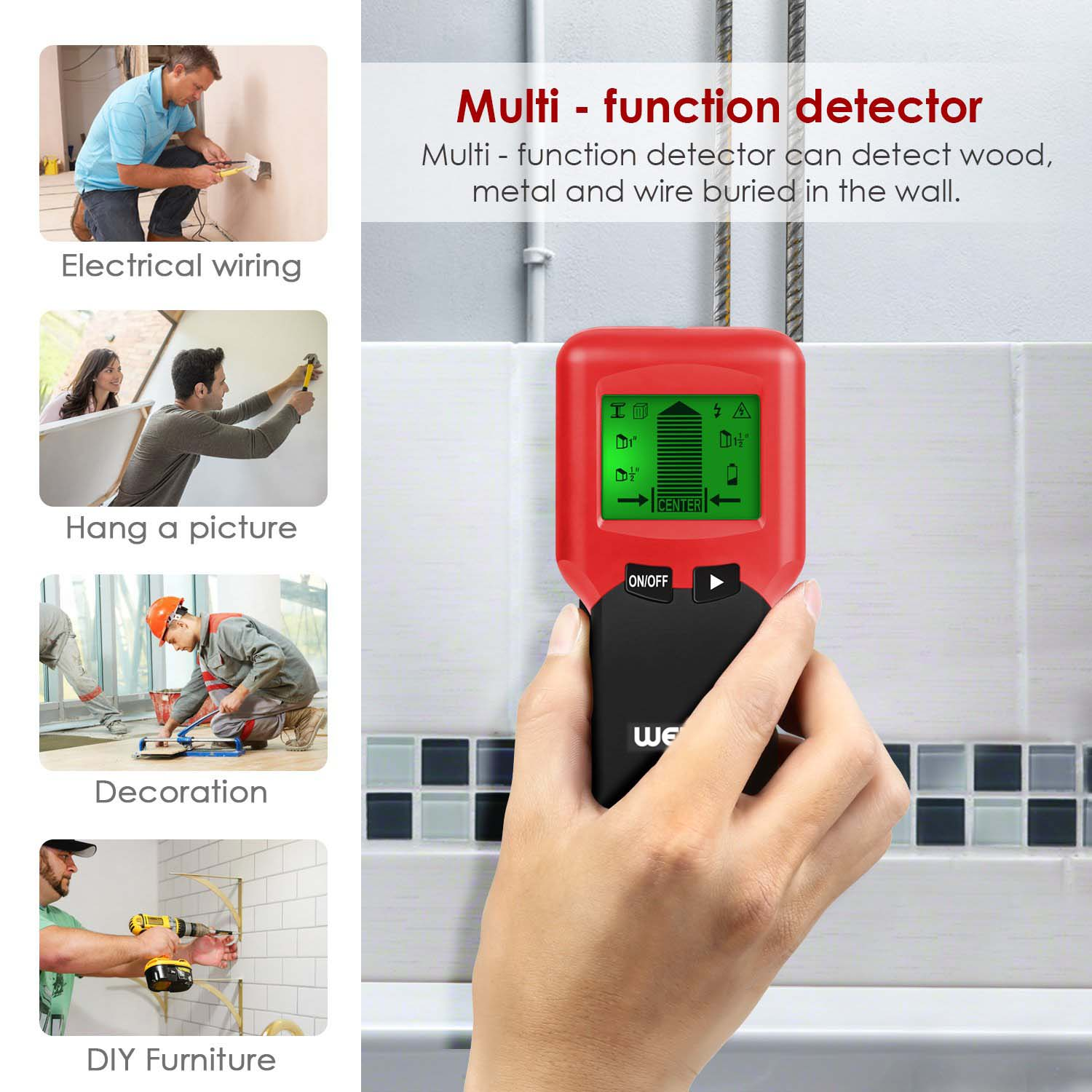 welquic stud finder tool, magnetic stud finder and level wall stud sensor scanner detector with lcd display, 3 in 1 metal ac live wire detector for ac bosch wall scanner singa z 3 in 1 lcd digital stud finder