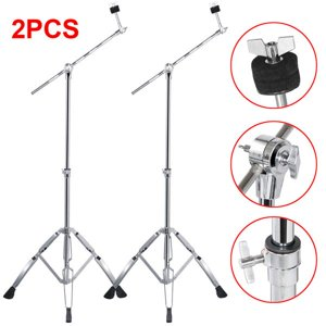 Yaheetech 2 Pack Boom Cymbal Stand Drum Hardware Percussion Double Braced Tripod Holder