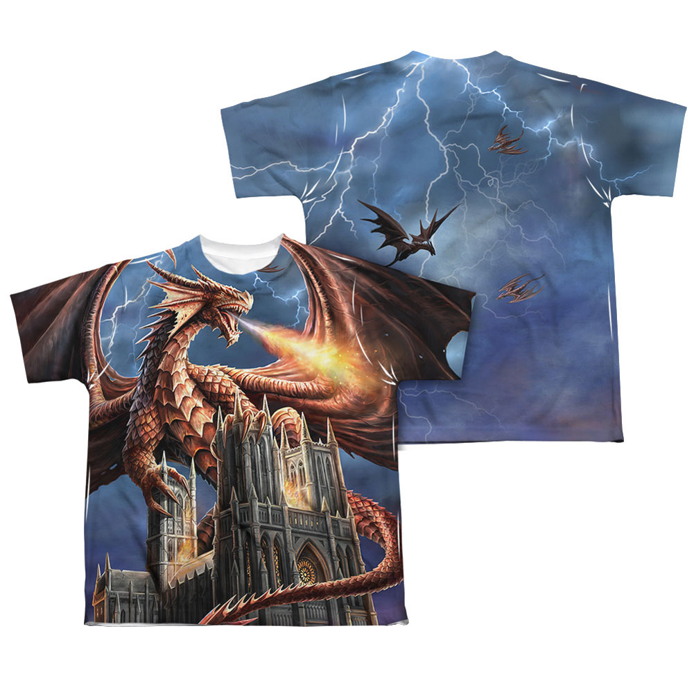 Anne Stokes Men's  Dragon's Fury Sublimation T-shirt White