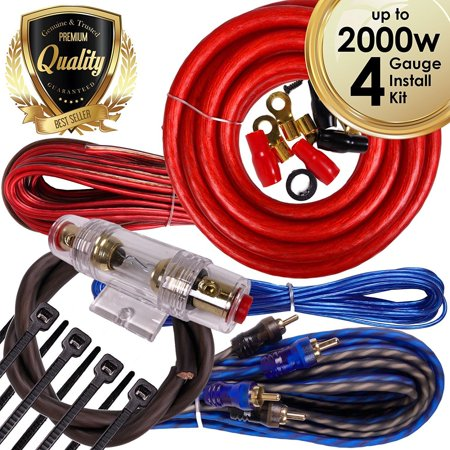 Complete 2000W 4 Gauge Car Amplifier Installation Wiring Kit Amp PK2 4 Ga Red 4 Gauge Single Amplifier Wiring