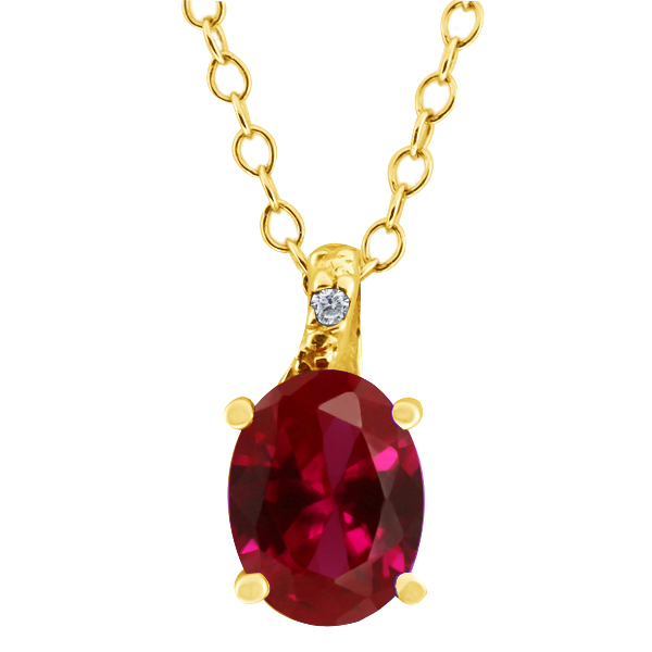 1.43 Ct Oval Red Created Ruby White Diamond 14K Yellow Gold Pendant