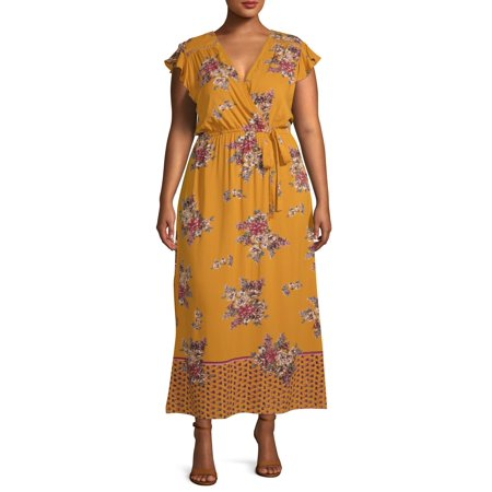 Romantic Gypsy Women's Plus Size Large Floral Border Print Maxi Dress with Flutter Sleeves Border Print Dress