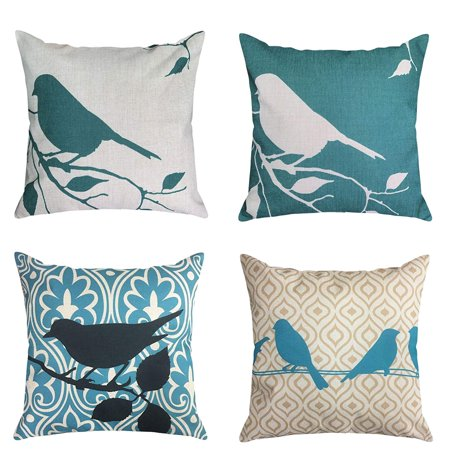 4-Pack 18x18'' Pillowcases Cotton Linen Decorative Throw Pillow Covers Letter Vintage Floral Bird Mediterranean Style Square Cushion Cover ,Office by