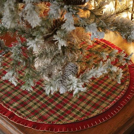 Cherry Red Rustic Christmas Decor Claren Felt Appliqued Plaid 21