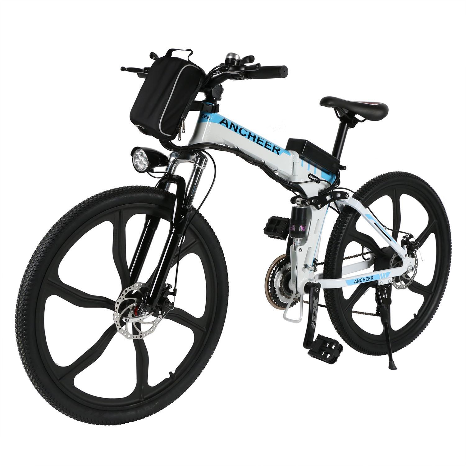 "Ancheer 26"" Electric Bike Foldable Men's Mountain Bike, Black"