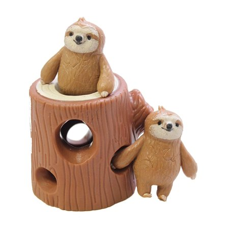 Sloths in Tree Stump - Peek a Boo Stretchy Fidget Toy - Soothing Calm Anxiety Focus ADD ADHD ()