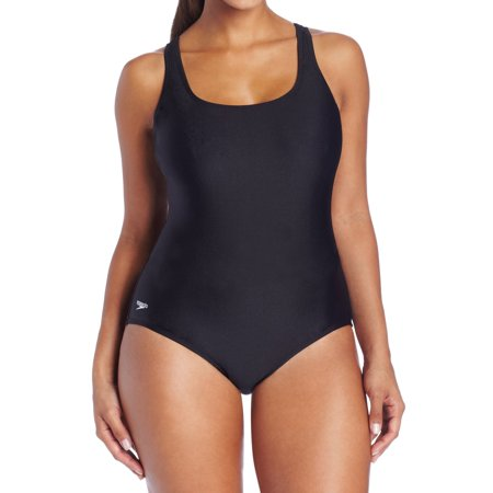 Speedo NEW Black Womens 20 Plus Chlorine-Resistant One-Piece (Chlorine Resistant Swim Suits)