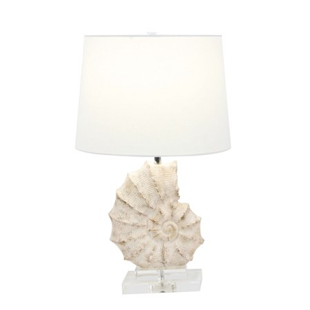 Decmode Coastal 24 Inch Distressed Polystone, Crystal And Linen Sea Snail Table Lamp, White ()