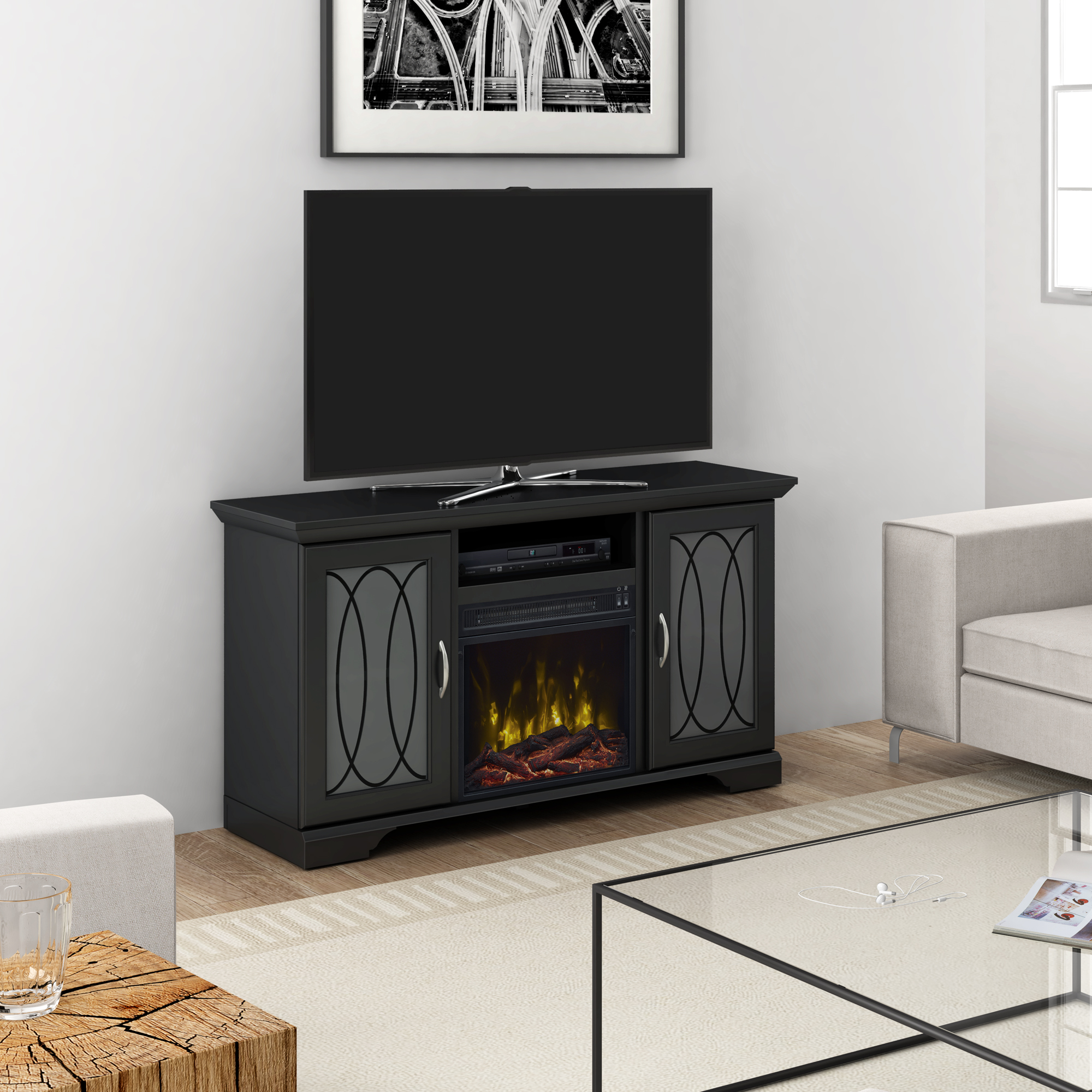 """Adelphia Black TV Stand for TVs up to 55"""" with Electric Fireplace"""
