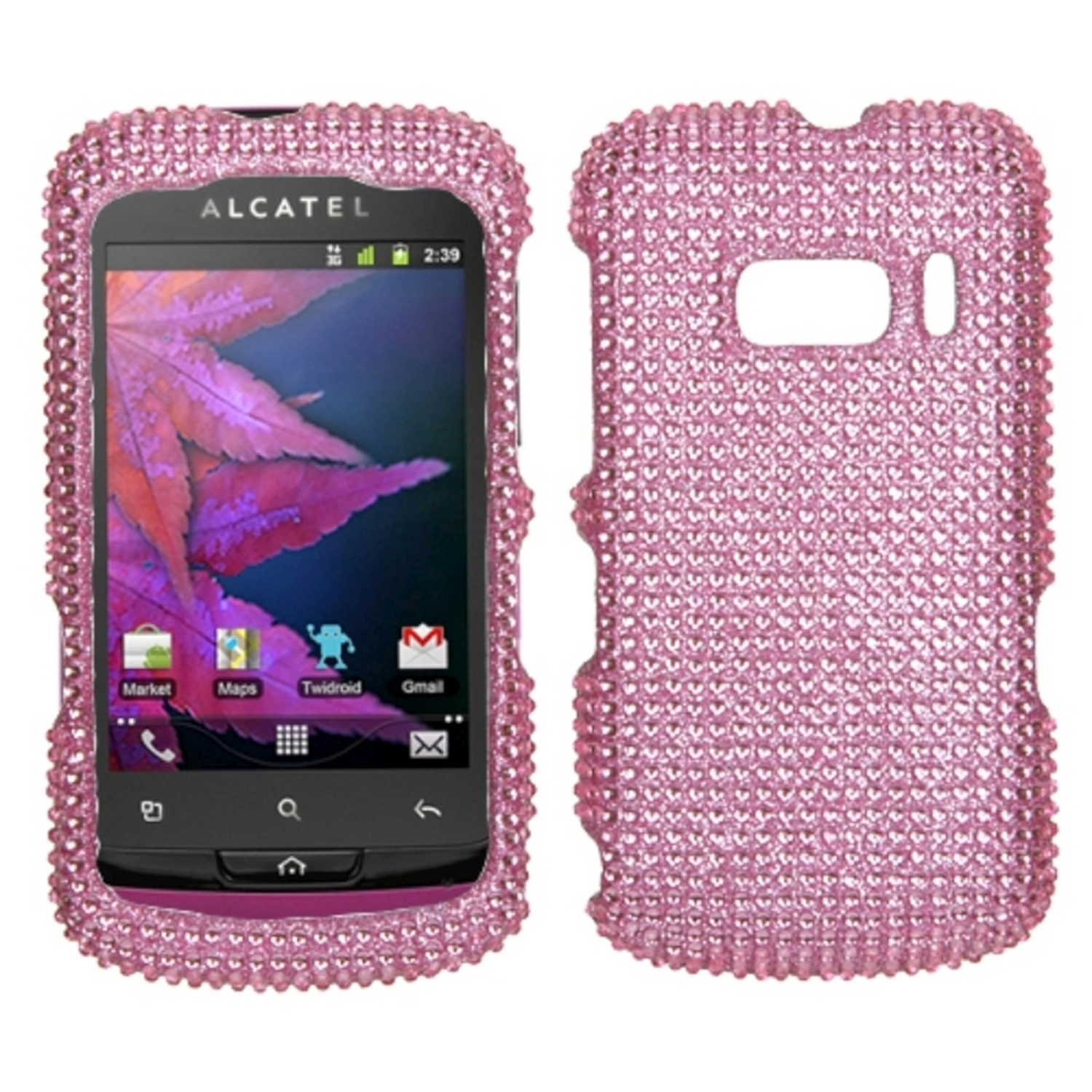 Insten Pink Diamante Protector Case Cover Diamante 2.0 For ALCATEL 918 One Touch