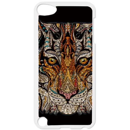 Ethnic Tiger Print Hard White Plastic Case Compatible with the Apple iPod Touch 5th Generation - iTouch 5 Universal (Detroit Tigers Ipod 5 Cases)