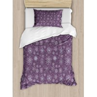 Snowflake Twin Size Duvet Cover Set, Christmas Themed Floral Arrangement Ornamental Swirls and Curves Winter, Decorative 2 Piece Bedding Set with 1 Pillow Sham, Levander Violet, by Ambesonne