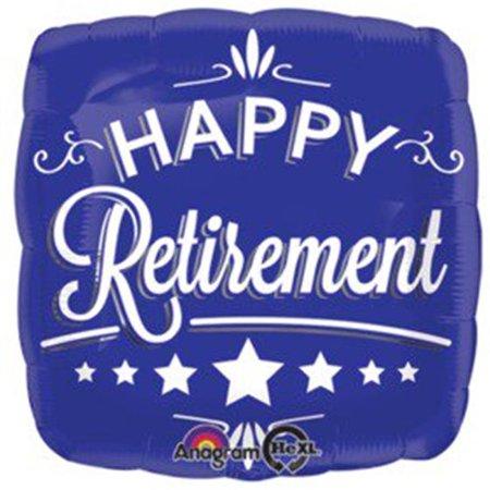 Loftus International A2-8738 18 in. Happy Retirement Blue Square HX Balloon - image 1 of 1