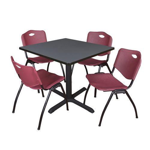 "Cain 42"" Grey Square Breakroom Table and 4 'M' Stack Chairs, Multiple Colors"