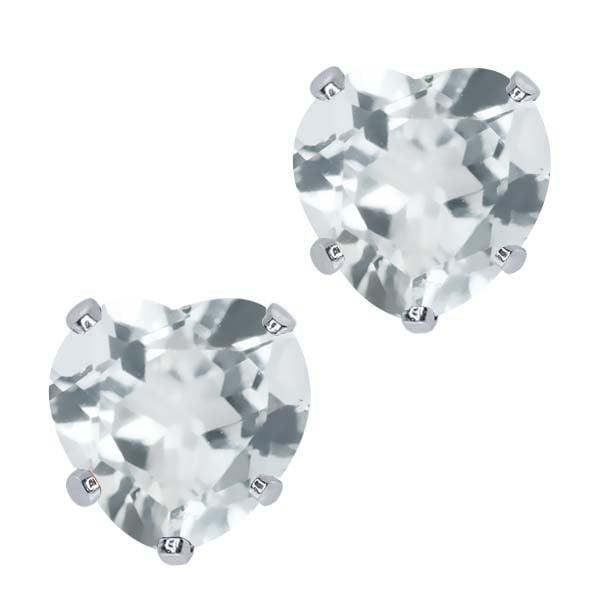 2.00 Ct Heart Shape 6mm Sky Blue Topaz 10K White Gold Stud Earrings
