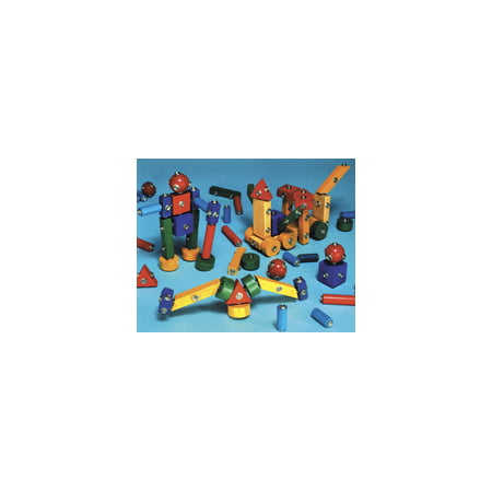 Marvel Education Co Snap-N-Play Wood Block Set, Assorted Colors, 65 Pieces - Blocks Of Wood
