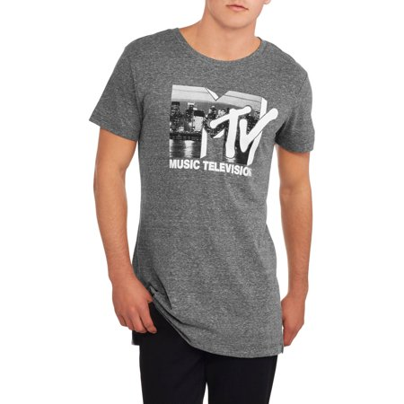 Mtv Logo Mens Extended Length Graphic Tee