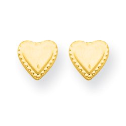 14k Yellow Gold Heart Post Stud Earrings Love Fine Jewelry For Women Gifts For Her - image 1 of 5
