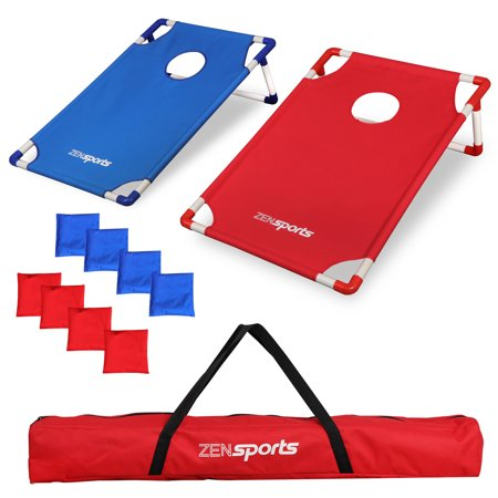 Zeny Foldable PVC Framed Cornhole Game Set with 8 Bean Bags and Portable Carrying Case