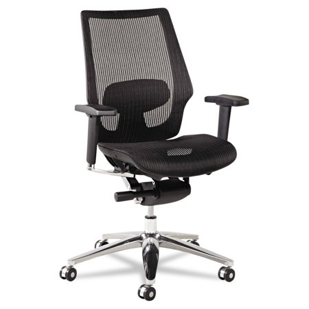 Alera K8 Series Ergonomic Multifunction Mesh Chair, Aluminum Base/Frame, Black ()