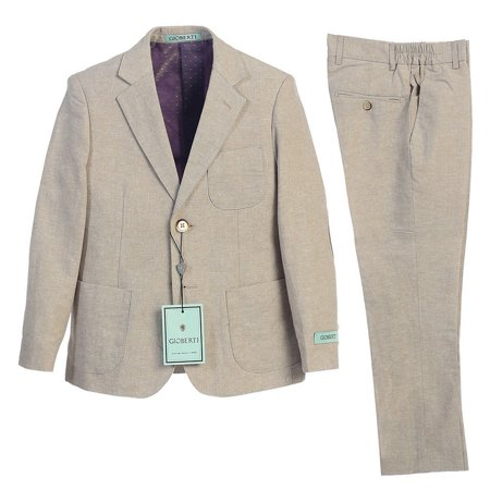 Gioberti Little Boys Stone Back Vent Button Jacket Pants 2 Pcs Linen Suit 4-7