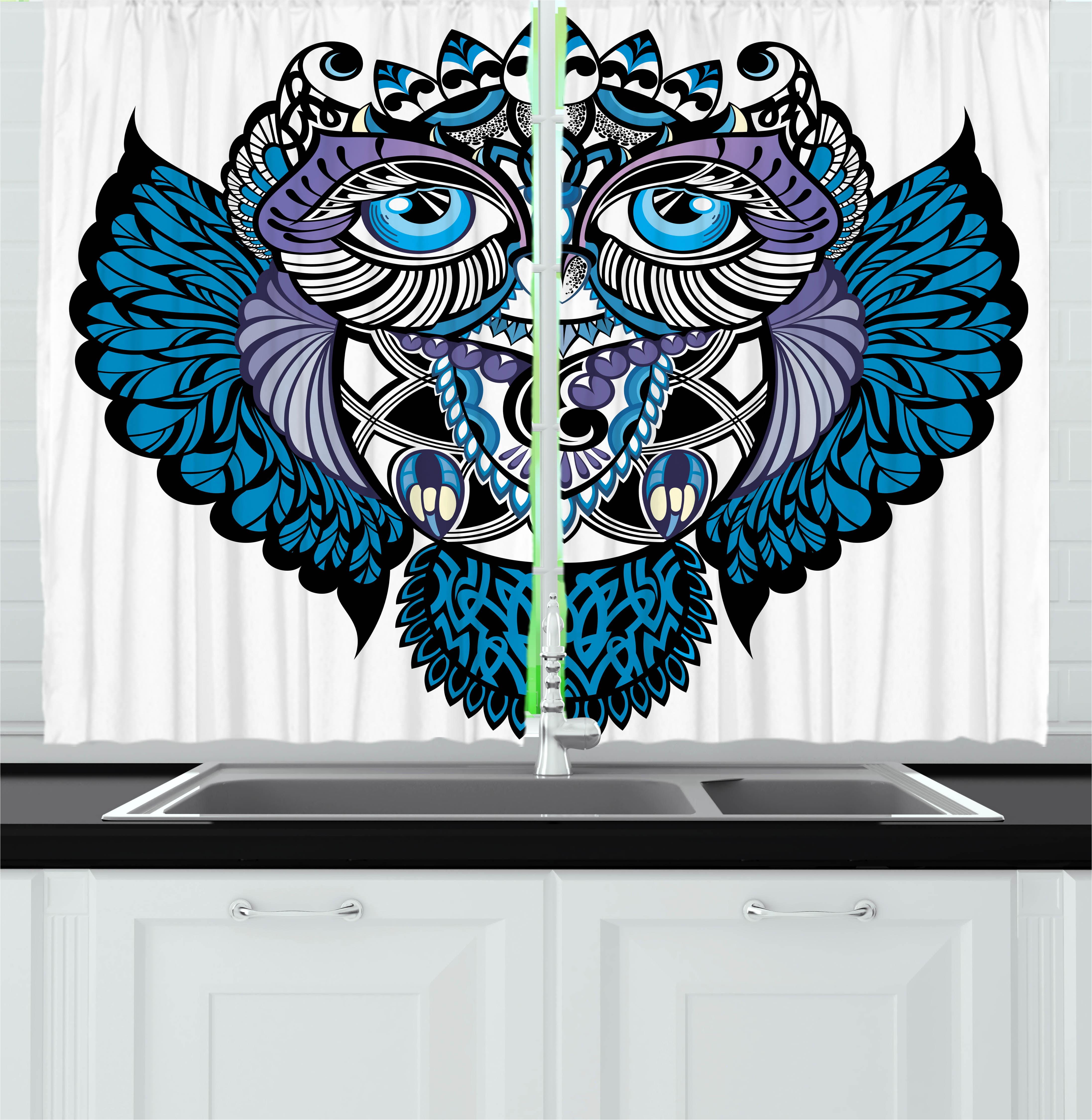 Tribal Curtains 2 Panels Set, Owl Bird Animal With Paisley