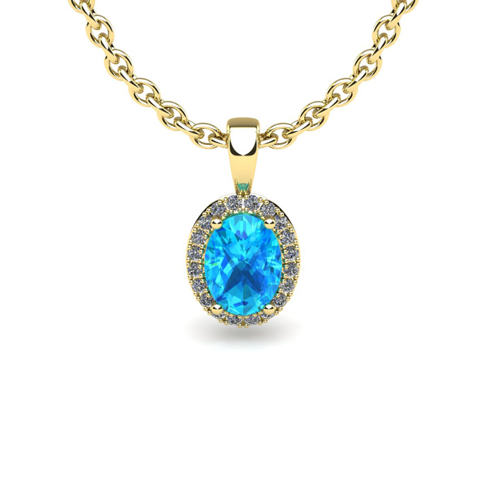 1 2 Carat Oval Shape Aquamarine and Halo Diamond Necklace In 10 Karat Yellow Gold With 18 Inch Chain by SuperJeweler