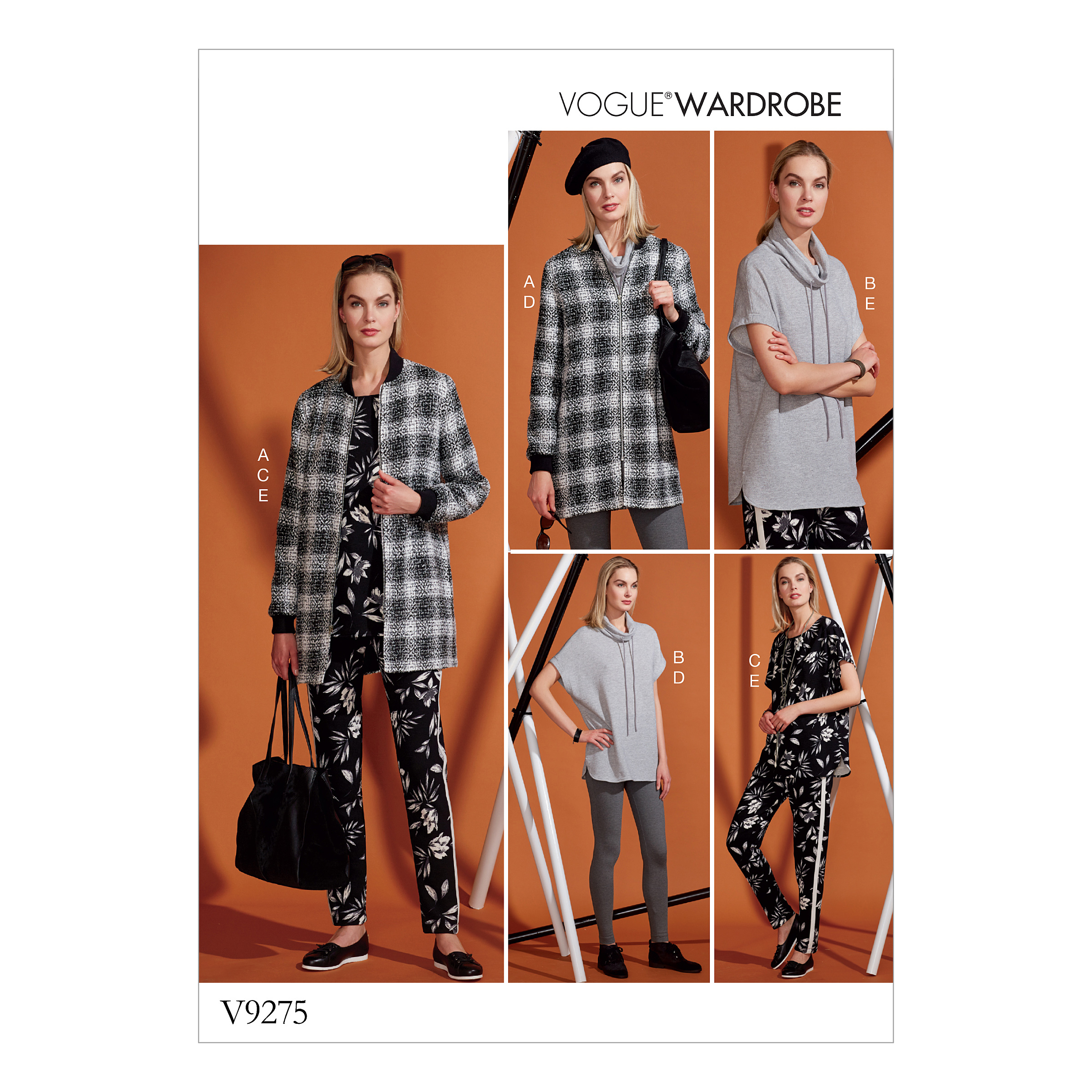 Vogue Patterns Sewing Pattern MISSES' LINED ZIP JACKET, KNIT TUNIC, LEGGINGS, AND PANTS-XS-S-M
