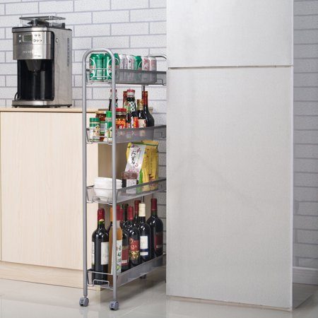 Zimtown 4-Tier Gap Kitchen Slim Slide Out Storage Tower Rack with Wheels, Cupboard