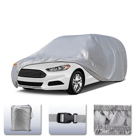 Car Cover Universal Fit All Weather Full Breathable Waterproof Sun UV Rain Snow Dust Wind Outdoor Protector (Fits cars up to 196
