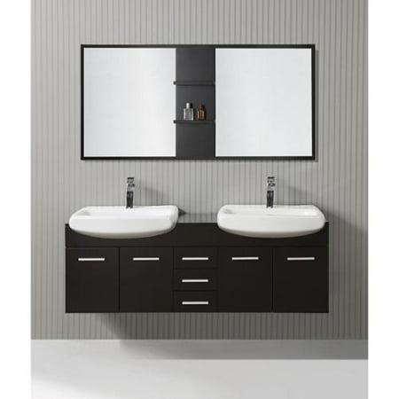ICA Furniture Cleo 59-inch Espresso Modern Bathroom Vanity with Mirror