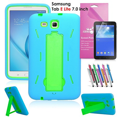 Samsung Galaxy Tab E Lite 7.0 Case, EpicGadget Heavy Duty Rugged Impact Hybrid Case with Build In Kickstand Protection Cover For Galaxy Tab E Lite 7 Inch Tablet T113 + Screen Film+ Pen (Blue/Green) (Asus 7 Inch Tablet Cases)