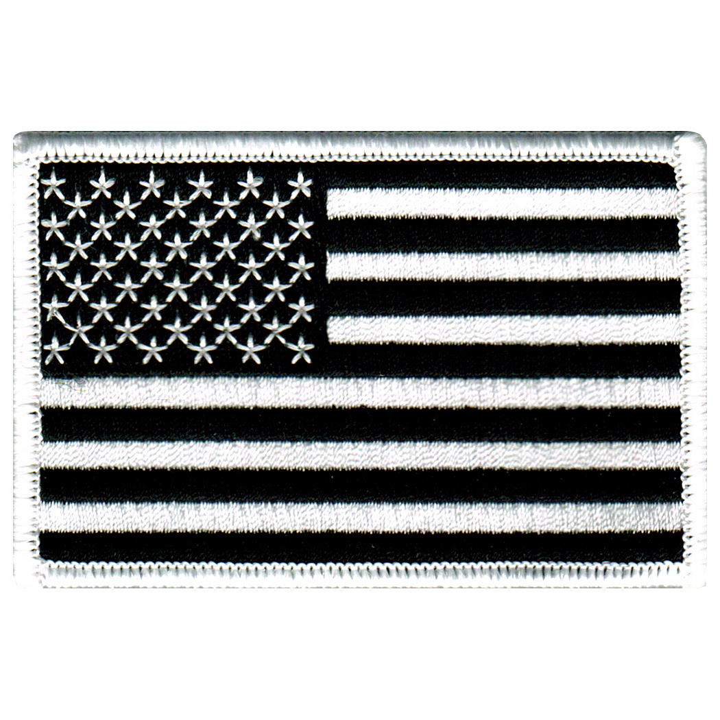 American Flag Iron-on Embroidered Patch Black White