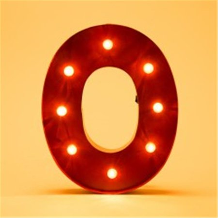 Glitzhome Vintage Marquee Led Lighted Letter O Sign Battery Operated Red