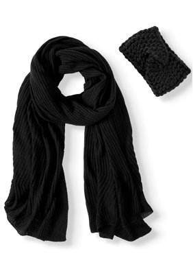 Time and Tru Chunky Knit Oblong Scarf and Chunky Knit Beanie Gift Set
