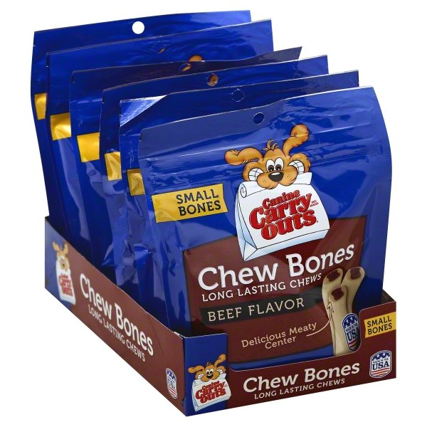 (3 Pack) Canine Carry Outs Chew Bones Beef Flavor Dog Snacks, 2.8-Ounce