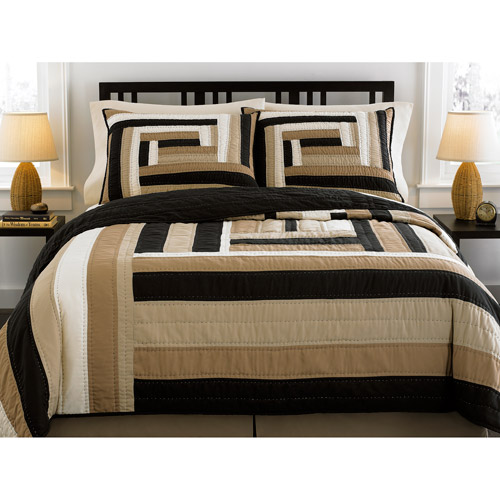 Hometrends Wave Box Quilt, Black and Tan