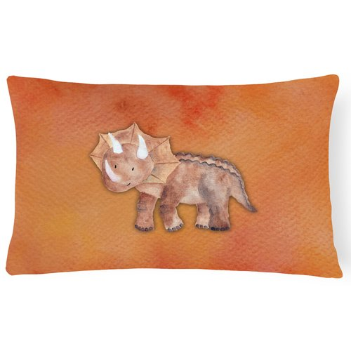 Zoomie Kids Sandy Triceratops Watercolor Lumbar Pillow