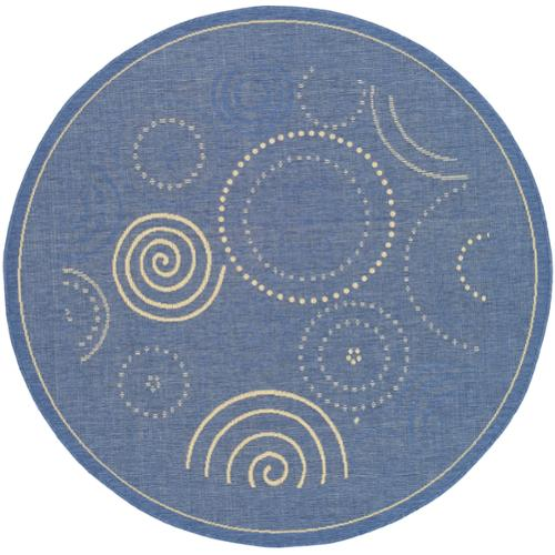 Safavieh Indoor/Outdoor Courtyard Blue/Natural Geometric Pattern Rug (7'10 Round)