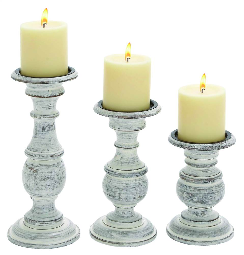 3-Pc Candle Holder in White Paint Finish by Benzara Inc