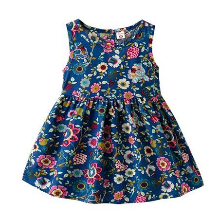 Styles I Love Baby Little Girl Colorful Floral Sleeveless Cotton Dress Summer Casual Outfit 3 Colors (Navy Blue, 100/2-3 Years)