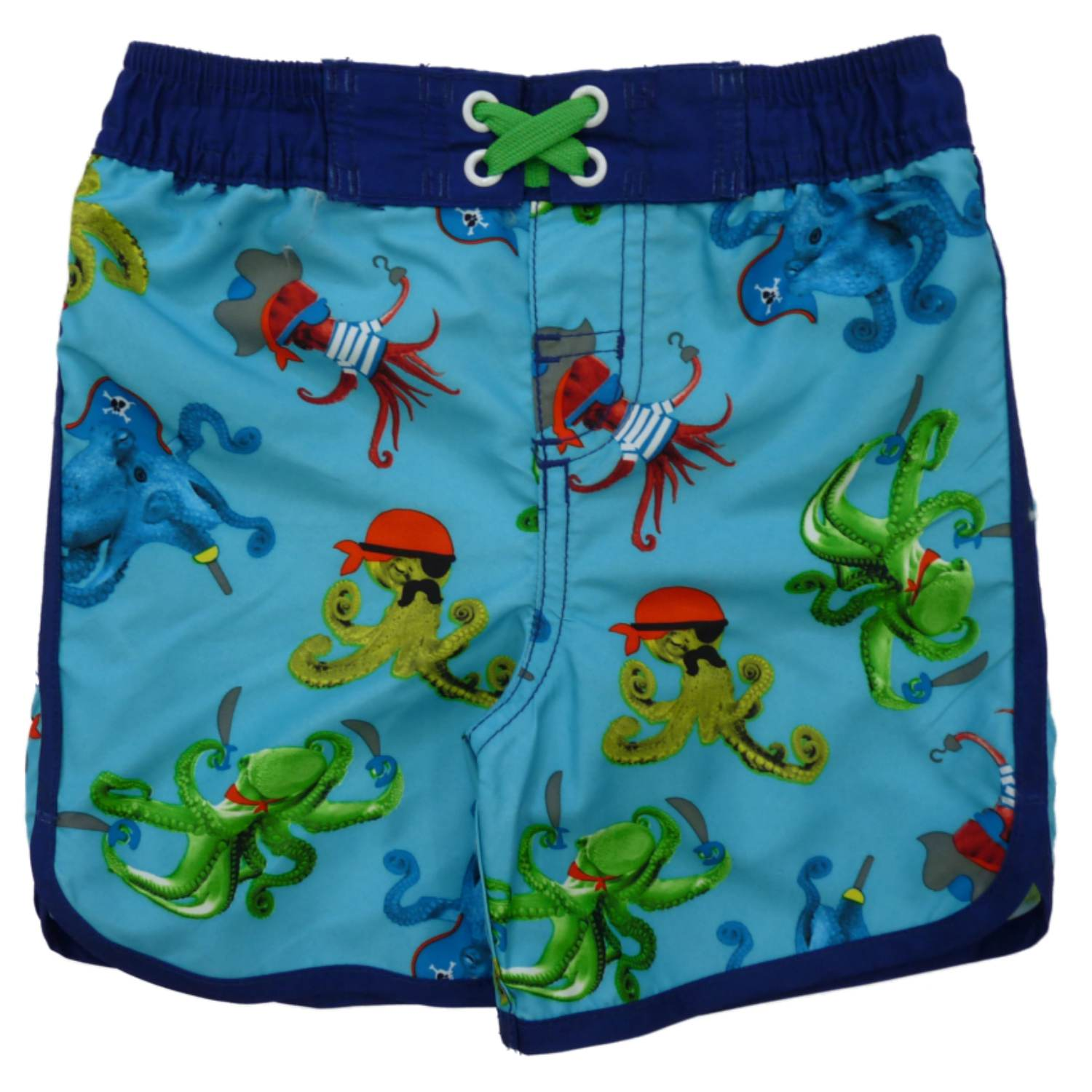 Joe Boxer Toddler Boys Blue Pirate Octopus Swim Trunks Squid Board Shorts