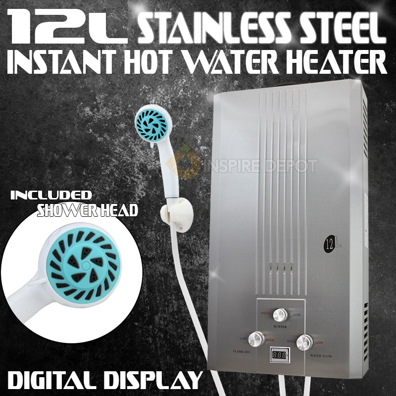 XtremepowerUS 12L 5GPM Digital LCD Display Stainless Steel Boiler Instant Hot Water Heater Shower