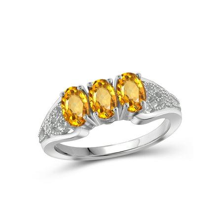 1 1/3 Carat T.G.W. Citrine Sterling Silver 3 Stone Ring - Ring Eraser