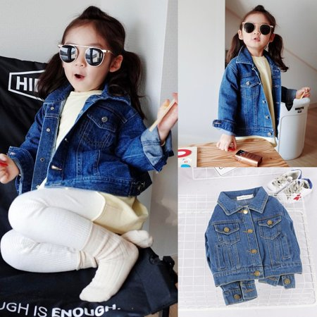 Toddler Girls Kids Fall Denim Jean Jacket Casual Pocket Coat Spring/Fall 1-6Y (Denim Jacket Girls)