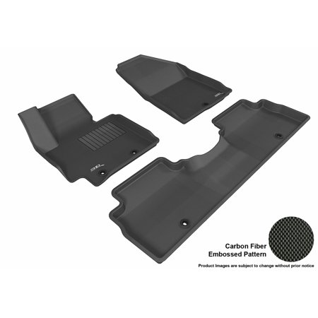 3D Maxpider 2014 2017 Kia Soul Front   Second Row Set All Weather Floor Liners In Black With Carbon Fiber Look