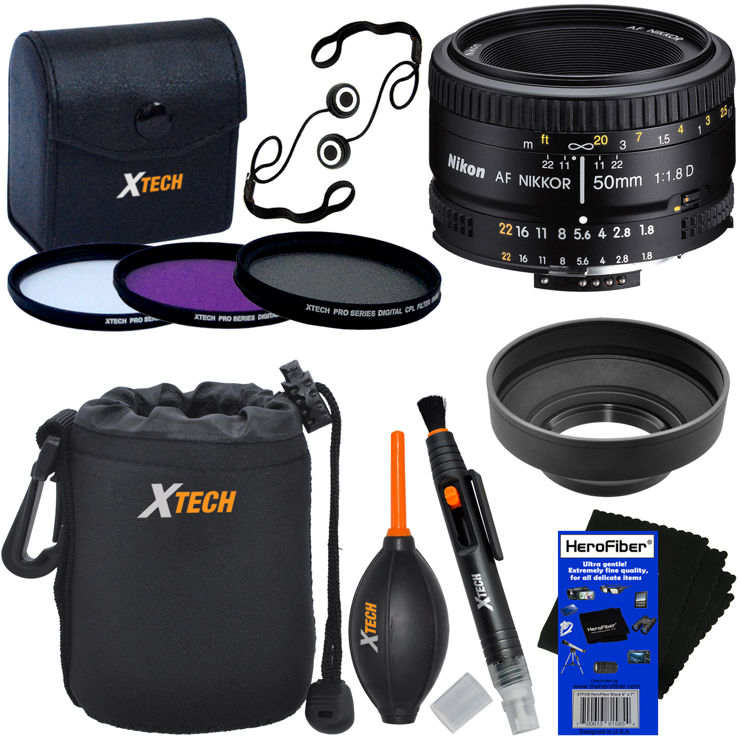 Nikon AF FX NIKKOR 50mm f/1.8D Lens with Auto Focus for Nikon DSLR Cameras + 3pc Filter Kit (UV,FL-D,CPL) + 8pc Accessory Kit w/ HeroFiber Gentle Cleaning Cloth